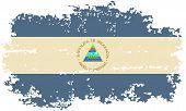 Nicaragua grunge flag. Vector illustration.
