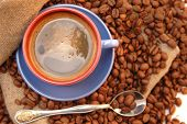 Coffee Beans and Cup With Coffee