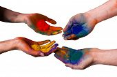 Colorful painted hands holding holi isolated