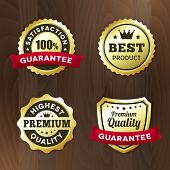 Business Gold Premium Label On Wood Vector Background