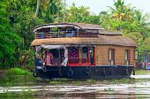 Traditional Indian houseboat in Kerala, India