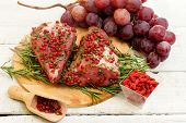 Pork Fillet Withred Grapes And Goji Berries