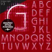 Techno style alphabet  sensitive to the background. Art-deco light. Set 1