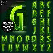 Techno style alphabet  sensitive to the background. Art-deco. Set 2