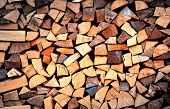 Firewood wall - abstract natural background