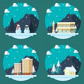Pack Of Flat Design Christmas Decorations