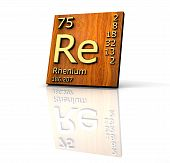 Rhenium Form Periodic Table Of Elements - Wood Board poster