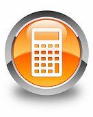 Calculator Icon Glossy Orange Round Button