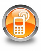 Cellphone Ringing Icon Glossy Orange Round Button