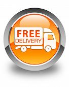Free Delivery (truck Icon ) Glossy Orange Round Button