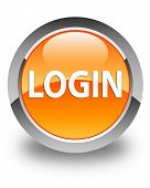 Login Glossy Orange Round Button
