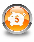 Piggy Bank (Dollar Sign) Icon Glossy Orange Round Button