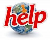 Globe and help (clipping path included)