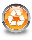 Recycle Icon Glossy Orange Round Button
