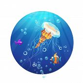 Cartoon image of a jellyfish and sea fish.