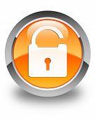 Unlock Padlock Icon Glossy Orange Round Button
