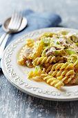 Fusilli with mushrooms, leek and mascarpone sauce