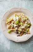 Fusilli pasta with mushrooms, leek and mascarpone sauce