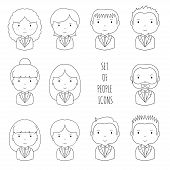 Set of line silhouette office people icons. Businessman. Businesswoman. Funny cartoon hand drawn fac