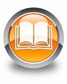 Book Icon Glossy Orange Round Button