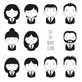 Set of monochrome silhouette office people icons. Businessman. Businesswoman. Funny cartoon hand dra