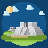 Flat Design Of Chichen Itza