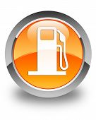 Fuel Dispenser Icon Glossy Orange Round Button