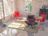 stack of the vintage suitcases on a table in a beautiful sunny interior. 3d concept