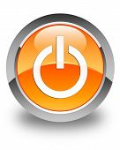 Power Icon Glossy Orange Round Button