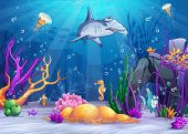 Illustration of the underwater world with a funny fish and hammerhead shark.