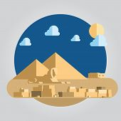 Flat Design Pyramid And Sphinx In Egypt Illustration