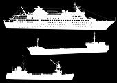 illustration with three commercial ships isolated on black background