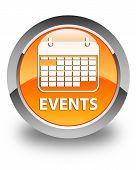 Events Glossy Orange Round Button