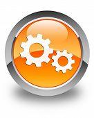 Process Icon Glossy Orange Round Button