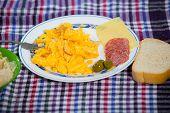 Scrambled eggs . Selective focus