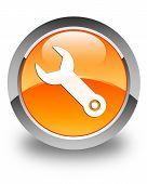 Wrench Icon Glossy Orange Round Button