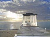 pavilion, beach and sunset