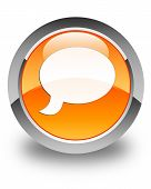 Chat Icon Glossy Orange Round Button