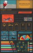 Set Of Motorcycles Elements, Transportation Infographics