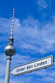 Berlin Television Tower and a direction sign