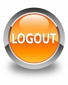 Logout Glossy Orange Round Button