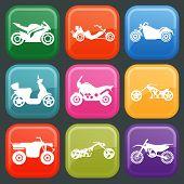Set Of Nine Icons Of Motorbikes