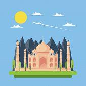 Flat Design Of Taj Mahal