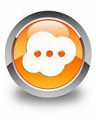 Brain Icon Glossy Orange Round Button