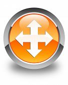 Move Icon Glossy Orange Round Button