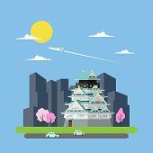 Flat Design Of Japan Castle