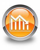 Statistics Down Icon Glossy Orange Round Button