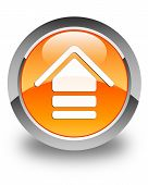 Upload Icon Glossy Orange Round Button
