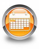 Calendar Icon Glossy Orange Round Button
