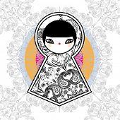 Cute Geometric Matryoshka Babushka Dolls